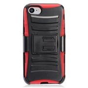 Insten Advanced Armor Dual Layer Hybrid Stand PC/Silicone Holster Case Cover for Apple iPhone 7 - Black/Red