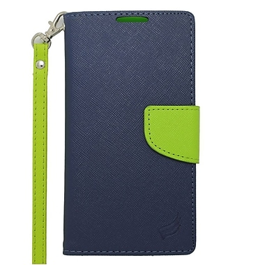 Insten Wallet Leather Case with Card Slot & Lanyard For Motorola Droid Turbo - Dark Blue/Green