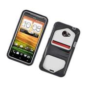 Insten Dual Layer Hybrid Hard Snap-in Case Cover for HTC EVO 4G LTE - Black/White