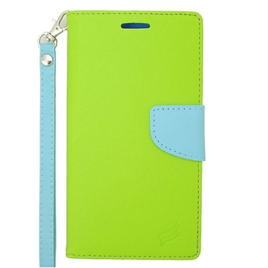 Insten Folio Leather Case with Lanyard & Photo Display For ZTE Quartz - Green/Light Blue
