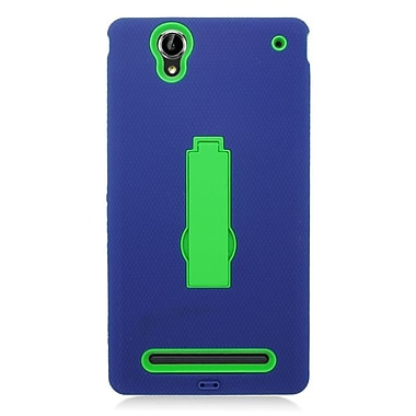Insten Symbiosis Rubber Dual Layer Hard Stand Case For Sony Xperia T2 Ultra - Blue/Green