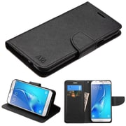 Insten Liner MyJacket Flip Wallet Credit Card Leather Stand Case For Samsung Galaxy J7 (2017) / Sky Pro - Black