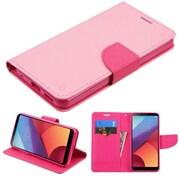 Insten Liner MyJacket Flip Wallet Credit Card Leather Stand Case For LG G6 - Pink/Hot Pink
