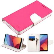 Insten Liner MyJacket Flip Wallet Credit Card Leather Stand Case For LG G6 - Hot Pink/White