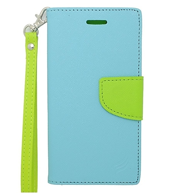 Insten Book-Style Leather Fabric Stand Credit Card Case Lanyard for Apple iPhone 6s Plus / 6 Plus - Blue/Green
