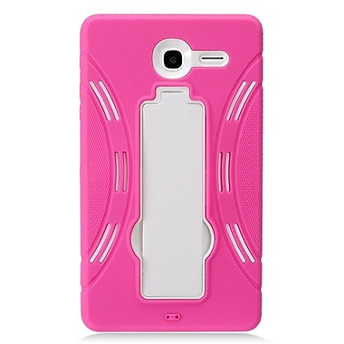 Insten Symbiosis Armor Hybrid Hard Stand Shockproof Case Back Cover For Alcatel One Touch Pop 7 - Hot Pink/White