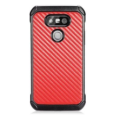 Insten Carbon Fiber Hard Hybrid Rubberized Silicone Case For LG G5 - Red/Black