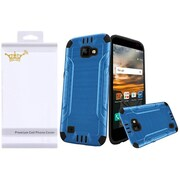 Insten Hard Dual Layer Rubber Coated Silicone Cover Case (with Installed Screen Protector) For LG K3 - Black/Blue