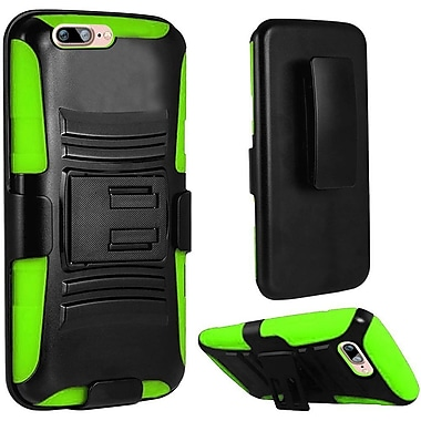 Insten Hard Dual-Layer Holster Case with Kickstand & Belt Clip for iPhone 7 - Black/Green