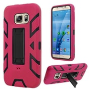 Insten Soft Dual Layer Rubber Hard Case w/stand For Samsung Galaxy S7 - Hot Pink/Black