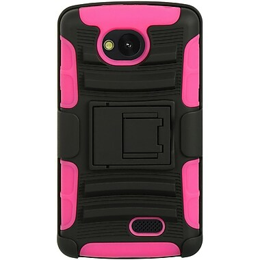 Insten Hybrid Hard TPU Dual Layer Cover Shockproof Holster Clip Case For LG Tribute - Black/Hot Pink