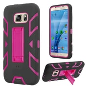 Insten Gel Dual Layer Rubber Hard Case w/stand For Samsung Galaxy S7 - Black/Hot Pink