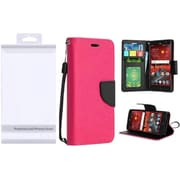 Insten Book-Style Leather Fabric Cover Case Lanyard w/stand/card slot/Photo Display For ZTE Grand X 4 - Hot Pink