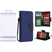 Insten Flip Leather Fabric Cover Case Lanyard w/stand/card slot/Photo Display For ZTE Grand X 4 - Blue