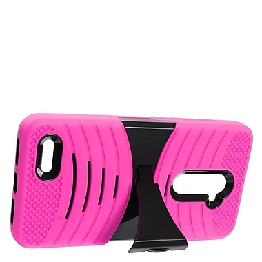 Insten Wave Symbiosis Armor Hybrid Hard Stand Protective Case Back Cover For ZTE Zmax Pro - Hot Pink/Black