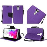 Insten Book-Style Leather Fabric Case Lanyard w/stand For LG G5 - Purple/Black