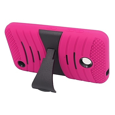 Insten Wave Symbiosis Gel Dual Layer Rubber Hard Stand Case For Nokia Lumia 630/635 - Hot Pink/Black