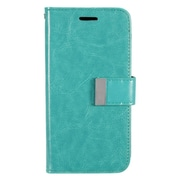 Insten Flip Leather Fabric Case w/card holder For Samsung Galaxy S7 - Mint Green