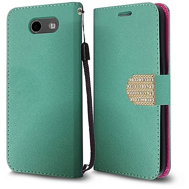 Insten PU Leather Bling Diamante MyJacket Wallet Card Flip Stand Case For Samsung Galaxy J3 (2017) - Teal