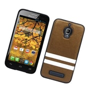 Insten Stripes PC/TPU Rubber Case Cover for Alcatel One Touch Fierce - Brown/White