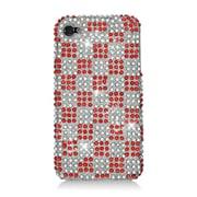Insten Checker Hard Rhinestone Case For Apple iPhone 4/4S - Red/White