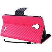 Insten Carbon Fiber Flip Leather Fabric Case Lanyard w/stand For ZTE Warp 7 - Hot Pink/Black