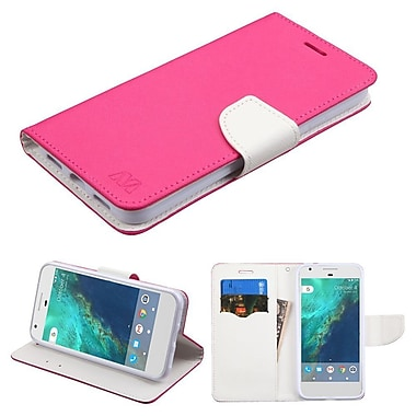 Insten Book-Style Leather Fabric Case w/stand/card slot For Google Pixel - Hot Pink/White