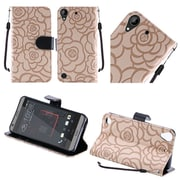 Insten Roses Folio Leather Fabric Cover Case Lanyard w/stand For HTC Desire 530 - Brown