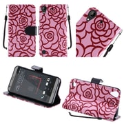 Insten Roses Book-Style Leather Fabric Case Lanyard w/stand For HTC Desire 530 - Pink