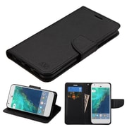 Insten Book-Style Leather Fabric Cover Case w/stand/card holder For Google Pixel XL - Black