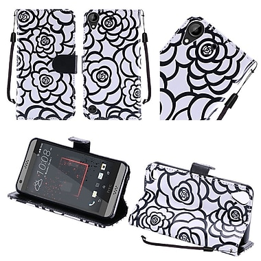 Insten Roses Folio Leather Fabric Cover Case Lanyard w/stand For HTC Desire 530 - White/Black