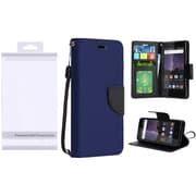 Insten Book-Style Leather Fabric Case Lanyard w/stand/card holder/Photo Display For ZTE Tempo - Blue