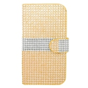 Insten Book-Style Leather Wallet Diamante Case with Card slot For ZTE Grand X - Gold/Silver