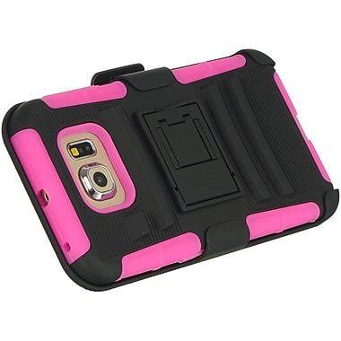 Insten Hybrid Dual Layer Hard PC/TPU Case Cover For Samsung Galaxy S6 - Black/Hot Pink