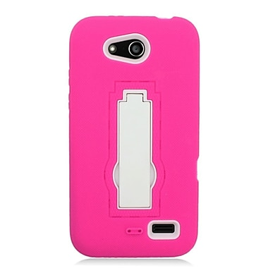 Insten Symbiosis Soft Hybrid Rubber Hard Case with stand For ZTE Speed - Hot Pink/White
