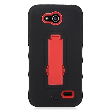 Insten Symbiosis Skin Hybrid Rubber Hard Case with stand For ZTE Speed - Black/Red