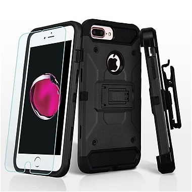 Insten Hard Hybrid Plastic TPU Stand Holster Case (+ Tempered Glass Screen Protector) For Apple iPhone 7 Plus - Black