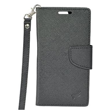 Insten Book-Style Wallet Leather Case with Card Slot & Lanyard For HTC One A9 - Black
