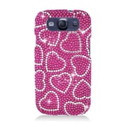 Insten Hearts Hard Diamante Cover Case For Samsung Galaxy S3 - Pink