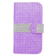 Insten Flip Leather Wallet Diamond Case with Card slot For Samsung Galaxy Avant - Purple/Silver