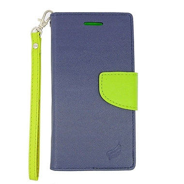 Insten Wallet Leather Stand Case with Lanyard & Card slot For Alcatel One Touch Conquest - Dark Blue/Green