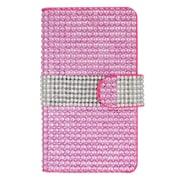 Insten Flip Leather Rhinestone Case w/ Card Slot for LG G5 - Pink/Silver