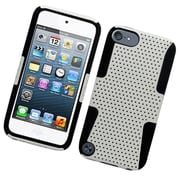 Insten TPU Rubber Hard PC Candy Skin Mesh Case Cover For Apple iPod Touch 5th Gen - White/Black
