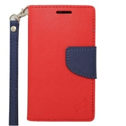 Insten Wallet Leather Case with Card Slot & Lanyard For Alcatel One Touch Evolve 2 - Red/Blue
