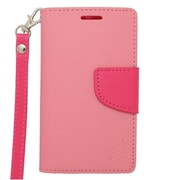 Insten Wallet Leather Case with Card Slot & Lanyard For Alcatel One Touch Evolve 2 - Pink/Hot Pink