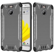 Insten Slim Armor Brushed Metal Design Hybrid Hard TPU Cover Back Case For HTC 10 EVO / Bolt - Grey/Black