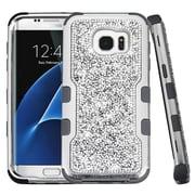 Insten Hard Dual Layer Diamante Silicone Cover Case For Samsung Galaxy S7 Edge - Silver/Black