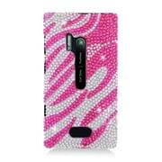 Insten Zebra Hard Bling Case For Nokia Lumia 928 - Hot Pink/Silver