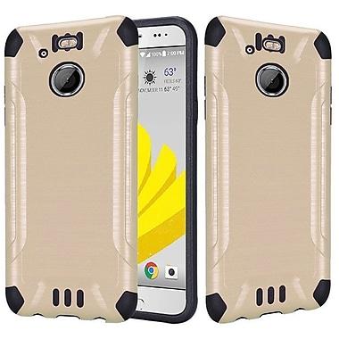 Insten Slim Armor Brushed Metal Design Hybrid Hard TPU Cover Back Case For HTC 10 EVO / Bolt - Gold/Black