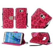 Insten Leopard Book-Style Leather Fabric Case Lanyard w/stand/Diamond For Samsung Galaxy S7 - Red/Black